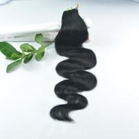 ingrosso onda onde corpo nero-JUFA Body Wave Tape in estensioni dei capelli umani Virgin brasiliano 40pcs / set 100g # 01 Jet Black PU capelli non trasformati Trama di trama dei capelli