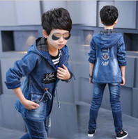 Wholesale Teenage Boys Winter Coats - 4-16T big Boy Clothes Boys Denim Jacket 2017 Spring Boys Outerwear For Children Brand Kids Jeans Coats For Boys Teenage Clothes