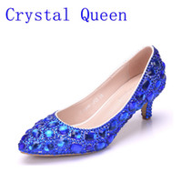 Crystal Queen Women Shoes Pumps Handmade Feminino nobre sapatos de casamento de diamantes Sexy Women's High Heels Sapatos de vestir 5CM