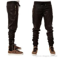 Nizza in magazzino Uomo Cool Man Kanye West Hip Hop Big Snd Talloni di moda Zippers Jogers Pantaloni Joggers Dance Urban Abbigliamento Mens Faux Leather Pantaloni