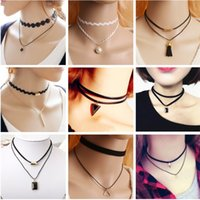 Оптово-новые кружева Bijoux Black Velvet Ribbon Tassel Lace Многослойное ожерелье Maxi Statement Chokers Necklace Women Jewelry