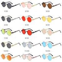 Wholesale steam punk goggles glasses - 23 Colors Round Sunglasses Punk Steam Sunglasses for Unisex Luxury Brand Designer Fashion Glasses Polarized Eyewear CCA7746 100pcs