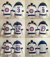 Wholesale Mens Sweaters Baseball - Chicago Cubs Mens Sweaters 3 David Ross 9 Javier Baez 12 Kyle Schwarber 27 Addison Russell 49 Jake Arrieta White Baseball Jersey Hoodies