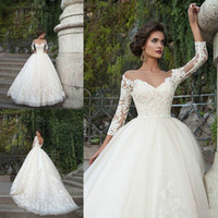 online shopping Ball Gown Wedding Dress - Long Sleeves Ball Gown Wedding Dresses Plus Size Lace Applique Bateau With Beaded Sash 2017 Vintage Bridal Gowns Vestidos de Novia Lace Up