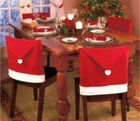 Wholesale Tables Chairs Wholesalers - Christmas Chair Back Cover Christmas Decorations Happy Santa Clause Red Hat Restaurant Chair Seat Back Covers Dinner Chair Cap Table Decor