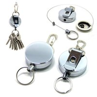 Wholesale Wholesale Retractable Keychains - Outdoor Steel Rope Burglar Keychain Tactical Retractable key ring Metal Key Chain Outdoor Safety Buckle Recoil Ring B109Q