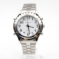 Wholesale Watches For Blind - Xiniu English Talking Clock Stainless Steel For Blind Or Visually Impaired Watch