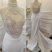 Wholesale chiffon heavy - Fashion Heavy Pearls Mermaid Prom Dresses Real Picture High Neck Evening Dress Long Evening Gown Robe de soiree 2017 Evening Dress