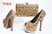 Wholesale Stone Party Shoes - Wholesale Italian matching shoes and bags set good looking woman party shoes and bags with stones for party and wedding