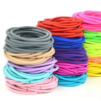 Wholesale Hair Rubber Band Color - 4mm Thickness Mix Candy Color Elastic Roeps Hair Ties Women Accessories