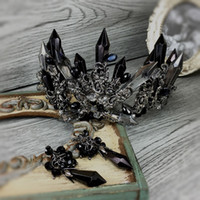 Wholesale Crown Vintage Key - 2017 Luxury Black Crystal Wedding Bridal Crown Events Accessories Baroque Gothic Vintage Crown + Earrings Handmade Jewelry Set Free Shipping