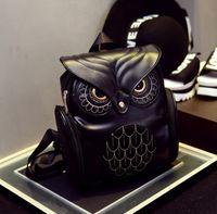 Wholesale Owl Leather Bag - Fashion Women Backpack Newest Style Cool Black PU Leather Owl Backpack Female Hot Sale Women shoulder bag children girls school bags