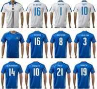 Wholesale Italy Blue Soccer Jerseys - Italia Soccer 21 Andrea Pirlo Jersey 2017-18 Italy Football Shirt National Team Personalized 1 Gianluigi Buffon 9 Mario Balotelli 10 TOTTI