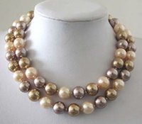 """Wholesale 12mm Multicolor Shell Pearl Necklace - 12mm Multicolor South Sea Shell Pearl Necklace 34"""""""