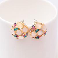 durchbohrte ohren diamant-bolzen großhandel-XS Opal Ohrstecker Diamond Circular Ohrringe Schraube ohne Ohr Ohrclips Zubehör Großhandel B1252