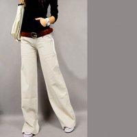 Wholesale Linen Fabric Trousers - New 2016 linen women wide leg pants Thick fabrics loose casual trousers elastic waist palazzo pants