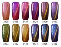Wholesale Gel Nail Polish 12 - 2017 New arrival Mei-charm 12 colors Chameleon cateye Nail Polish 15ml UV GEL POLISH soak off nail gel DHL 48pcs lot
