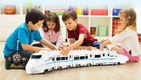 электрическая железная дорога оптовых-Оптовая торговля-огромный размер музыка RC поезд игрушка электрический пульт дистанционного управления Rail 4 Вт RC модель автомобиля поезд для детей подарок Железнодорожный трек поезд Toyss