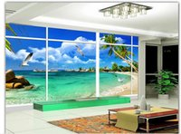 Wholesale outside window - fashion decor home decoration window outside the beautiful natural sea view 3D stereo TV wall