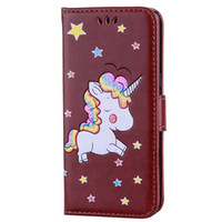 Wholesale wallet phone case galaxy s5 online - For Samsung Galaxy S8 Plus S7 S6 Edge S5 J3 J5 J7 EU US A3 A5 A7 J510 Unicorn Horse Wallet Leather Case Fashion Phone Stand Cover