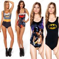 digitaldruck bodysuit großhandel-Sexy BATMAN Badeanzug ein Stück Sexy Bademode S Bodysuit Digitaldruck Ich bin der Batman Superman Wonder Frau Badeanzug
