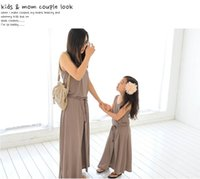 Wholesale Retail Summer New Family Matching Outfits Fashion Girl Dresses Mother and daughter Cotton Beach Dress T