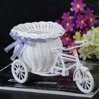 Wholesale Flower Basket Designs - EYFL 2017 Hot Sale New Plastic White Tricycle Bike Design Flower Basket Container For Flower Plant Home Weddding Decoration