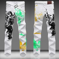 Wholesale hot selling Mens Designer Jeans Fashion Slim Wild Print Pant Clubwear Trouser Size