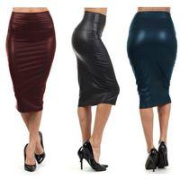 Wholesale Denim Sexy Women Skirt - Women Skirt Midi Skirt OL Sexy Slim stretch High waist faux leather pencil skirt Elegant Ladies Skirts 4 Colors Free shipping
