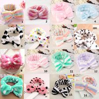 Wholesale Headband Beauty - Womens Elastic Hair Coral Velvet Big Bow Polka Dot Stripe Headbands Bath Wash Face Makeup Band Beauty Shower Hairband Head-Ware