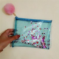 Wholesale Pcs Girl S - 3 Pcs Per Pack Lolita Girl 'S Cosmetic Bag Transparent Jelly Sequined Heart Pen Bag Fashion Organizer Make Up Phone Pouch with Pom Pom