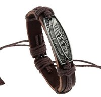 antike silberne armbänder für frauen großhandel-2017 heißer verkauf Mann frau Antike Silberne Rindsleder armband 100% rindsleder armband Feder leder Paar Armband 24 teile / los