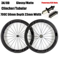 Powerway R36 Hubs Fast Forward FFWD ruote in carbonio con decalcomanie nere 700C 50mm tubolare pieno tubolare in bicicletta da bicicletta