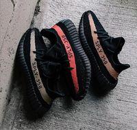 Wholesale Shoes Color Red - 8 color 350V2 best quality right version bred zebra black red copper kanye west shoes running shoes man running shoes size36-48