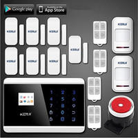 Wholesale Wireless Gsm Pstn - LS111- KERUI Android IOS Touch Screen Keypad+LCD TFT display Wireless GSM PSTN SMS Home house Security Burglar Voice Smart Alarm System