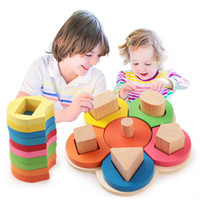 Vente en gros- Enfants Bébé Bois Apprentissage Fleur Jouets éducatifs Puzzle Montessori Early Learning Stacking Building Brain Training Toys