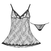 Wholesale Slip Pajamas - Pajamas Dress See-through Super Lace Sexy Temptation Slip Dress Underwear Set Hot Halloween Christmas Jacquard Lace Erotic Women