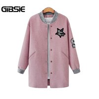 Großhandel-GIBSIE 4XL 3XL Herbst Winterjacke Frauen Basic Mäntel Pailletten Patch Covered Button Plus Größe Medium-Long Coat Weiblich Pink, Grau