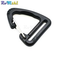schwarzer karabiner großhandel-50 teile / los 1''Plastic Schnallen Haken Klettern Karabiner Hängende Keychain Link Rucksack Gurtband 25mm