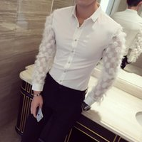 Wholesale Black Lace Men Dress Shirts - Wholesale- Men Luxury Shirt Long Sleeve Slim Fit See Through Mens Dress Shirts Black 2017 Harajuku Fashion Brand Mesh British Fashion Lace