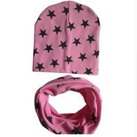 детские шарфы оптовых-Детские зимние шапки и шарф хлопок теплые детские шапочки унисекс мальчиков девочек дети младенческой детские шапки шарф костюм G828