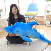 NOVO Lovely 120cm Big Simulated Animal Dolphin Plush Pillow Doll 47 '' Soft Stuffed Blue Cartoon Dolphins Kids Play Toy