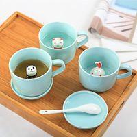 ingrosso piccole tazze di latte-3D Cartoon Ceramics Cup Piccoli animali nelle tazze Creative Fashion Multi Function Latte Caffè Tè Mug 7xd J