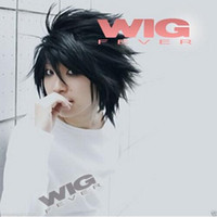 Wholesale Death Note Cosplay Wigs - Hot sale !! Death Note L Lawliet Wig Black Men Cosplay Short Stylish Anime Cosplay Hair Wig