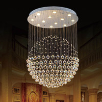 Wholesale ball knob clear for sale - Group buy New Modern LED K9 Ball Crystal Chandeliers Crystal Pendant Light chandelier lights Chandelier Clear Ball Ceiling Light
