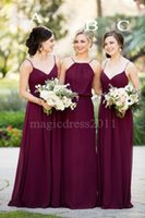 Wholesale Halter Sweetheart Chiffon Wedding Dress - 2016 Gorgeous Burgundy Wedding Bridesmaid Dresses A-Line Halter Sweetheart Chiffon Ruffled Cheap Floor-Length Maid of Honor Covered Button