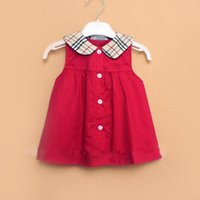 Wholesale Doll Lolita - 3 color 2017 hot selling england style new arrival girl summer cute solid color sleeveless plaid Doll Collar skirt free shipping