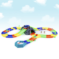 Wholesale Cars Race Track Set - 144pcs Racing Track DIY Assembly Set Toy Vehicle LED DIY Racing Track Assembly Flexible Car Toys Gifts for Kids +NB
