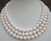 FREE SHIPPING nova jóia nobre de jóias finas ENORME AAA 9-10MM ROUND SOUTH SEA WHITE PEARL COLLAR 50