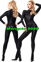 Wholesale full body catsuit black - Unisex Cosplay Costumes Sexy Black Shiny Lycra Metallic Body Suit Sexy Catsuit Costumes Unisex Outfit New Halloween Cosplay Suit M039
